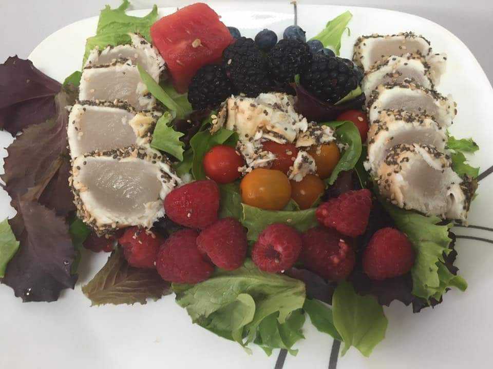 seed crusted coconut oil fish salad